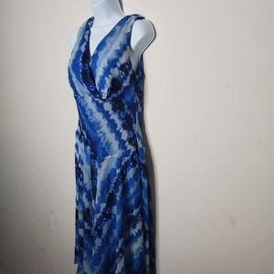 Blue and White Water Color Plus Size Dress